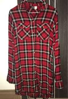 H&M long plaid shirt