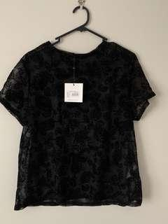 Missguided Size 10 Black Floral Mesh Top