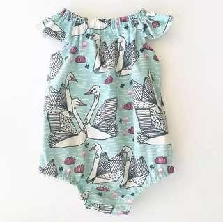 🌟INSTOCK🌟 Tiffany Mint Swan Print Overall Onesie Romper Newborn Kids Baby Toddler Casual Clothing for girls