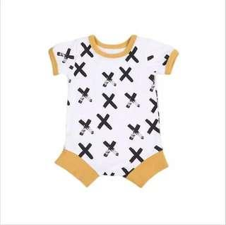 🌟INSTOCK🌟 X Cross Print Yellow Overall Onesie Romper Newborn Kids Baby Toddler Casual Clothing for boys and girls