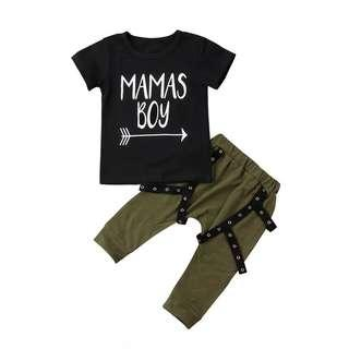 🌟INSTOCK🌟 2pc Mama Boy Sleeves Black Top and Army Green Punk Style Harem Pants Set Kids Baby Toddler Casual Clothing for boys