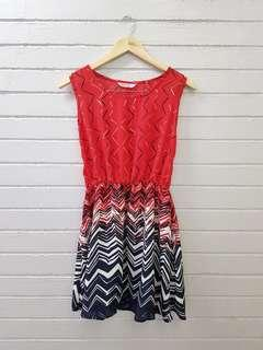 Red Printed Casual Dress