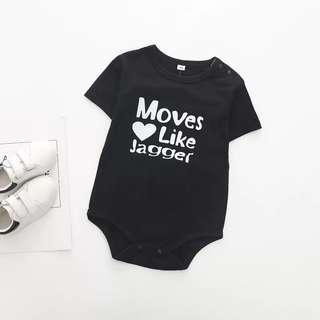 🌟INSTOCK🌟 Moves Like Jagger Black Sleeves Overall Romper Newborn Baby Onesie Toddler Casual Clothing for boys