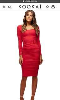 Kookai red poppy dress size 1 worn once