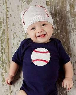 🌟INSTOCK🌟 Baseball Sports Theme Navy Sleeves Overall Onesie Kids Newborn Baby Romper Children Clothing for boys
