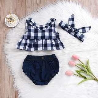 [PO] 3pcs Checkered Red/Blue sexy back top with jean shorts baby girl set
