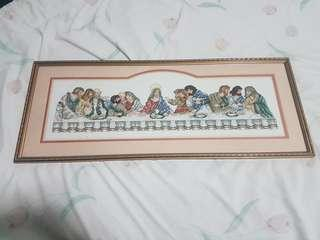 Framed Cross-Stitch Last Supper 28×68 cm