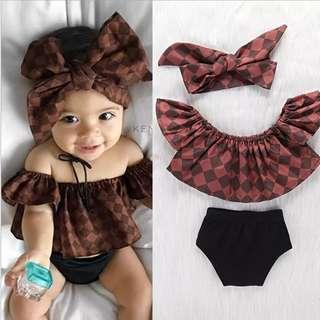 [PO] Trendy Off shoulder top with shorts baby girl set