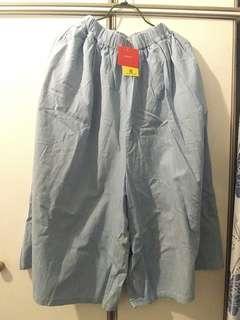 淺藍竹節紋闊裙褲