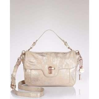100% Authentic JUICY COUTURE Limited Edition-Distressed Metallic Gold LEATHER shoulder bag