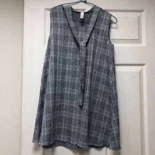 🚚 [250含運]可愛韓風格紋休閒無袖氣質連身裙小洋裝