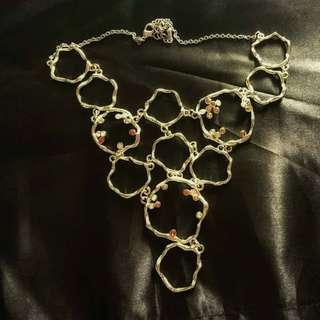 閃石珊瑚心形頸錬 crystal necklace