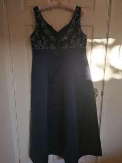 Sz 18 midnight blue satin full length formal dress