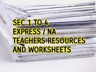 English Language Worksheets and resources for Sec 1, Sec 2, Sec 3, Sec 4 Express Normal Academic Assessment Books