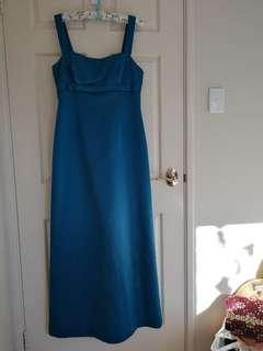 Sz 14 electric blue satin full length dress with diamante detail