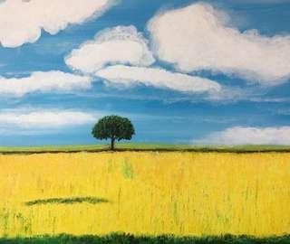 Original abstract landscape painting created by Melo Ngai