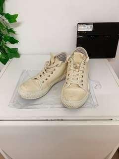 全真皮 軟小牛皮 造舊復古 中筒小白鞋