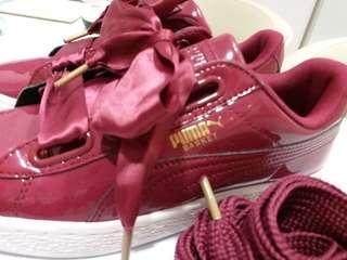 Puma basket heart 漆皮蝴蝶結詩帶波鞋