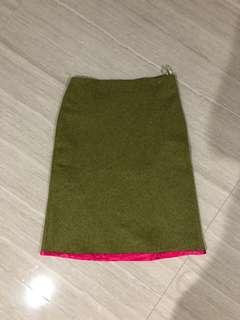 Studio green army a line skirt with pink detail