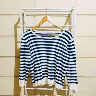 Plus Size Calico Striped Knitted Pullover Sweater