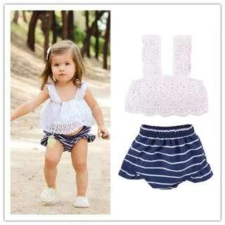 [PO] Stylish lacy top with ruffle strips skirt shorts baby girl set