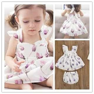 [PO] Floral ruffle sleeve top with matching bloomer baby girl set