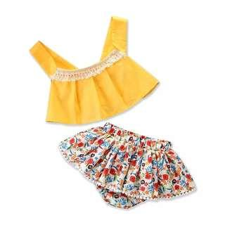 [PO] Bohemian style top with floral bloomer baby girl set
