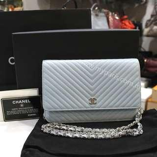 Chanel Blue Calf Leather Wallet On Chain SHW