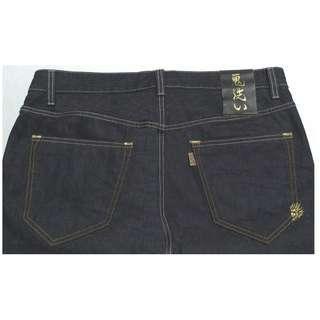 【跨年前賣場任2件減200】BLUE WAY 鬼洗系列 繡金線鬼頭 深藍色 直筒褲 36腰 (9成新)