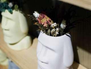 摩艾石像 乾燥花盆 辦公室小物 聖誕 交換禮物