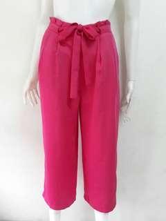 S-M Zara front tie pink trouser culottes pants