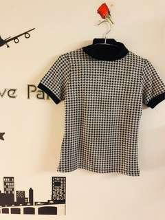 🚚 黑白針織短袖格紋