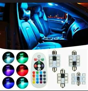 Brand New High Quality 31 mm x 31 mm Interior Led Light Multi - Colour With Remote Controller