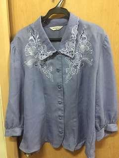 Blue linen embroidered blouse