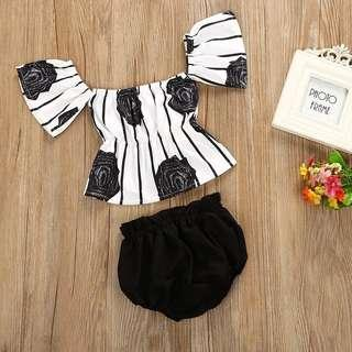 [PO] Stylish off shoulder floral top with bloomers baby girl set