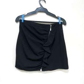 Zara Black Ruffle Mini Skirt