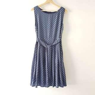 Vintage English Pleated Tea Dress in Faux Silk Navy Print