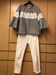 🚚 蕾絲 簍空 條紋上衣