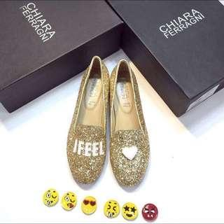 Chiara I FEEL Gold Glitters Loafers