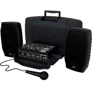 Portable Sound System PA System for rent: Behringer EUROPORT PPA 200 Ultra-Compact 200-Watt 5-Channel Portable PA System With Digital Effects and FBQ Feedback Detection