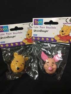 一對 Disney Winnie The Pooh piglet 豬仔 懷舊 匙扣 迪士尼