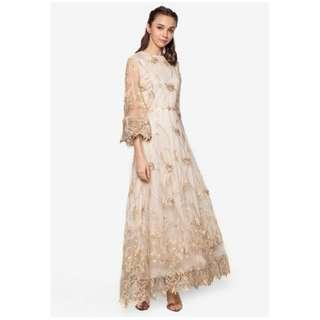 Zalia Embroidered Flare Sleeve Long Dress Hari Raya