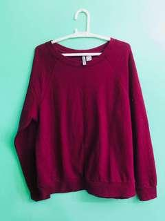 H&M Basic Divided Maroon Sweater