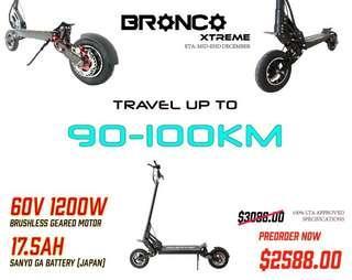 60V 1200W 17.5Ah LTA Compliant Preorder BRONCO Xtreme
