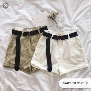 ulzzang beige high waisted shorts + belt