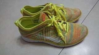 🚚 Nike Free TR Flyknit 訓練鞋 九成新 螢光黃 女 7.5/24.5cm