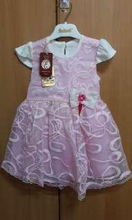 Pink & white dress for baby girl