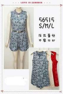 56515 Ladies CNY Cheongsam Flower Lace Romper