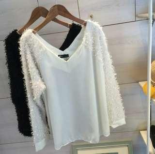 正韓組 💯 韓製 奢華毛毛兩面V領上衣(黑色)白色