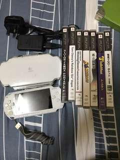 PSP + 保護殼 + 7隻game (運作正常)